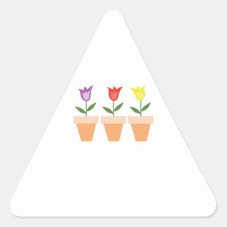 La primavera ha saltado pegatina triangular