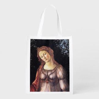 La Primavera in detail by Sandro Botticelli Reusable Grocery Bag