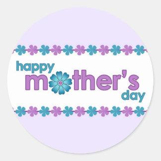 La primavera púrpura del día de madre florece al pegatinas redondas