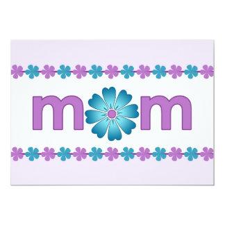 """La primavera púrpura del día de madre florece la invitación 5"""" x 7"""""""