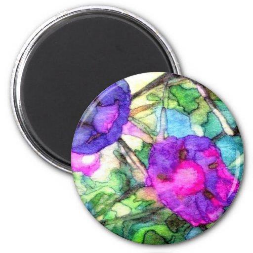 La primavera púrpura florece CricketDiane Imán Redondo 5 Cm