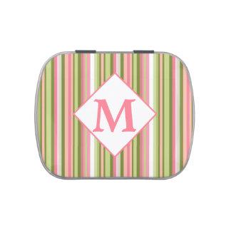 La primavera raya la lata con monograma de la haba jarrones de caramelos