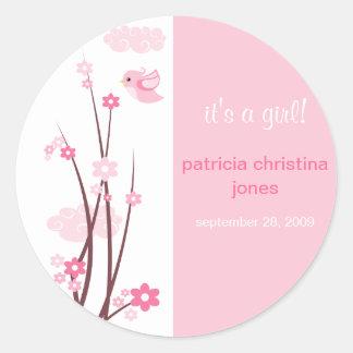 La primavera rosada de los pájaros del amor pegatina redonda