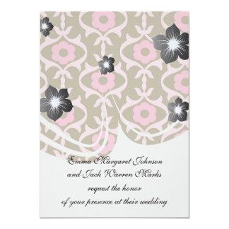 la primavera rosada marrón florece el damasco invitacion personalizada