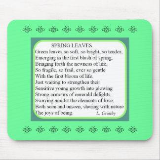 La primavera sale del cojín de ratón del poema alfombrillas de ratones