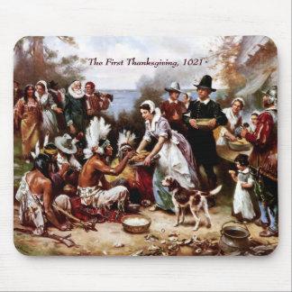 La primera acción de gracias 1621 Bella arte Mou Tapetes De Ratón