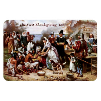 La primera acción de gracias, 1621. Imán de la bel