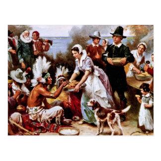 La primera acción de gracias, 1621. Postales