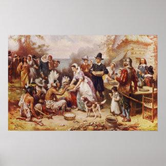 La primera acción de gracias 1621 póster