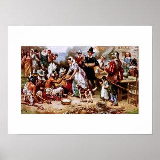 La primera acción de gracias, 1621. Poster de la b Póster