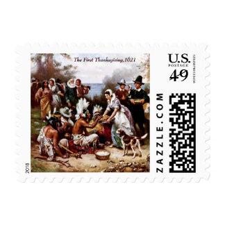 La primera acción de gracias 1621 Sello
