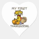 La primera acción de gracias del bebé colcomanias corazon personalizadas