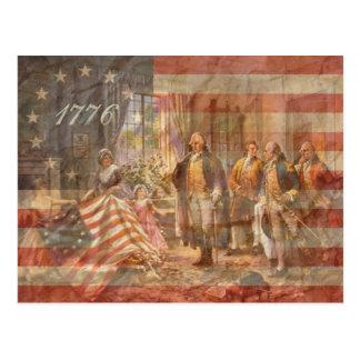 La primera bandera americana postal