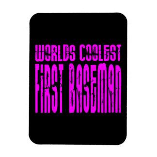 La primera base más fresca de los mundos rosados iman rectangular