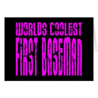 La primera base más fresca de los mundos rosados felicitación