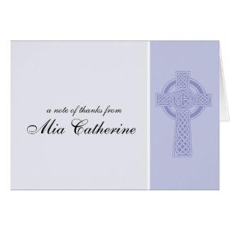 La primera comunión de la cruz céltica le agradece tarjeton