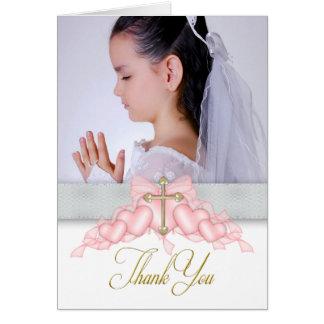 La primera comunión de la foto cruzada rosada le felicitaciones