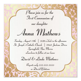 La primera comunión de oro metálica del rosa color invitacion personalizada