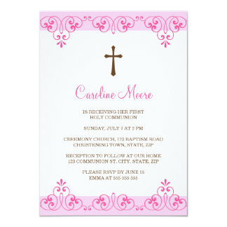 La primera comunión del damasco rosado elegante invitación 11,4 x 15,8 cm