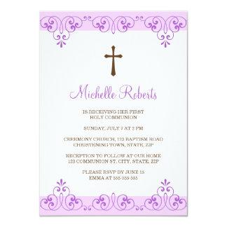 La primera comunión del damasco violeta elegante comunicado personal