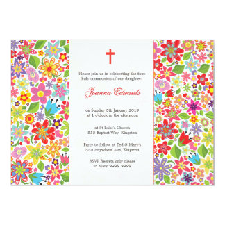 La primera comunión floral brillante personalizada invitación 12,7 x 17,8 cm