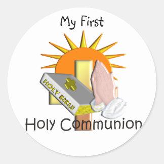 La primera comunión santa embroma los regalos pegatina redonda
