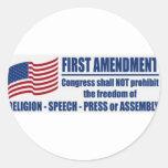 La Primera Enmienda Pegatina Redonda