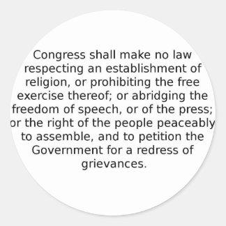La Primera Enmienda Pegatinas