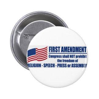 La Primera Enmienda Pin Redondo De 2 Pulgadas