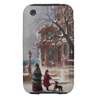 La primera escena del navidad de la nieve tough iPhone 3 protector