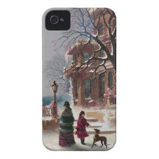 La primera escena del navidad de la nieve iPhone 4 carcasas