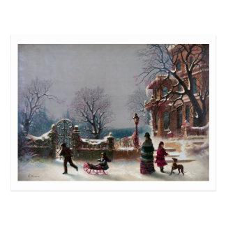 La primera escena del navidad de la nieve tarjetas postales