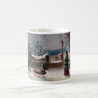 La primera escena del navidad de la nieve taza básica blanca