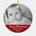 La primera foto del navidad del bebé - escoja adorno navideño redondo de cerámica