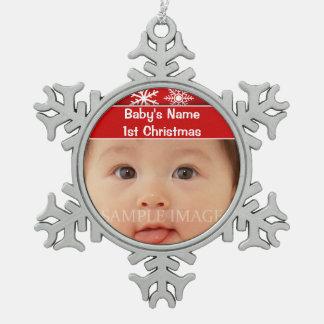 La primera foto del navidad del bebé personaliza adorno