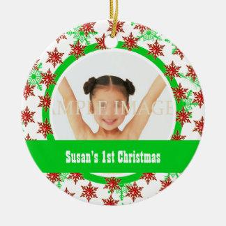 La primera foto del navidad personaliza ornamento de navidad