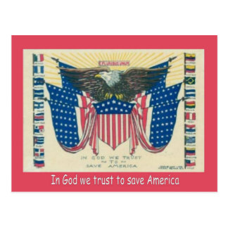 La Primera Guerra Mundial,    propaganda, en dios  Postal