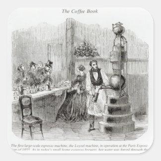 La primera máquina de café express en grande pegatina cuadrada