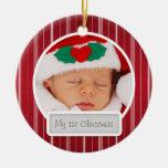 La primera MOD del navidad del bebé raya rojo del Adorno Redondo De Cerámica
