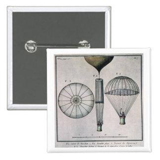 La primera pendiente de paracaídas de Andre-Jacque Pin Cuadrada 5 Cm
