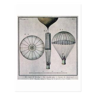 La primera pendiente de paracaídas de Andre-Jacque Tarjeta Postal