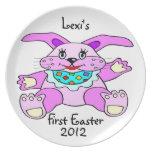 La primera placa personalizada Pascua del bebé Plato De Cena