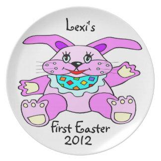 La primera placa personalizada Pascua del bebé Platos