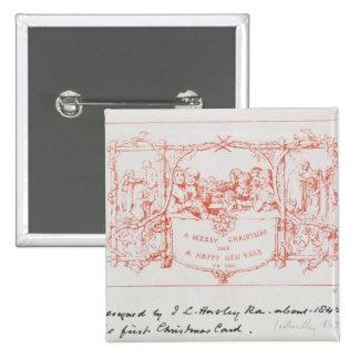 La primera tarjeta de Navidad, por J.C.Horsley, 18 Pin Cuadrada 5 Cm