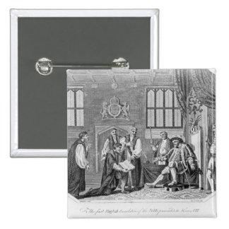 La primera traducción inglesa de la biblia pin cuadrada 5 cm