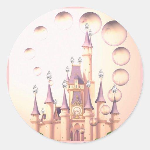 La princesa Castle Birthday Invitations de la niña Pegatina Redonda
