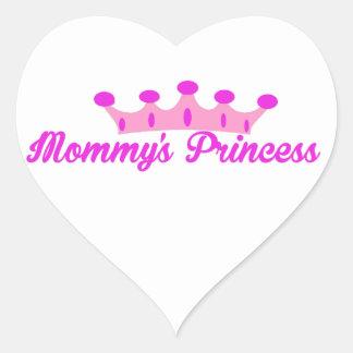 La princesa de la mamá pegatina de corazon