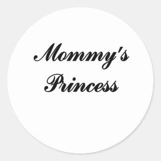 La princesa de la mamá pegatina redonda