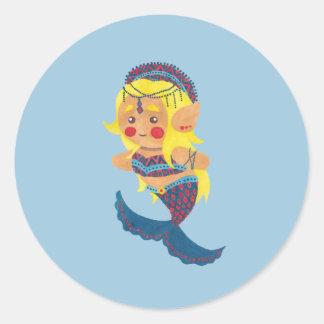 La princesa de la sirena pegatina redonda