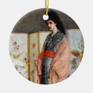 La princesa de la tierra de la porcelana adorno navideño redondo de cerámica
